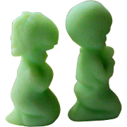 SALE Fenton Green Satin Glass Praying Boy and Girl Figurines