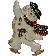 SALE Skating Snowmen Pin by SFJ for the Holidays