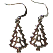 SALE Christmas Tree Silver tone Metal Dangle Earrings for the Holidays