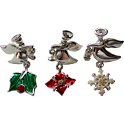 SALE Three Angel Tie Tack Pins for the Holidays / Christmas