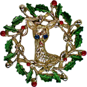 SALE Gerry's Holiday Wreath with Deer Pin