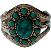 SALE Large Faux Turquoise Silver tone Cuff Bracelet