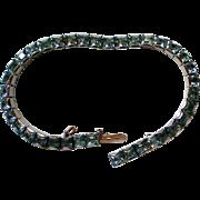 REDUCED Weiss Blue Square Rhinestone Link Bracelet