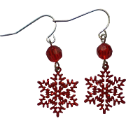 SALE Red Snowflake Pierced Dangle Earrings for the Holidays