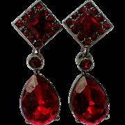 SALE Ruby Red Faceted Glass Pierced Dangle Earrings