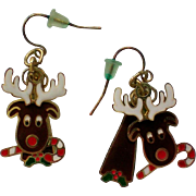 SALE Articulated Christmas Holiday Moose Pierced Earrings