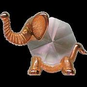 SALE Crystal and Brass Elephant Knicknack