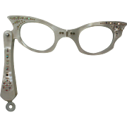 REDUCED Cat Eyes Lorgnette Folding Opera Glasses with Rhinestones 1950's