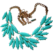 Turquoise Faceted Bold Plastic Necklace
