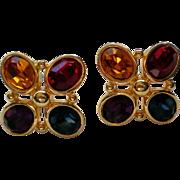 Napier Pierced Multiple Colored Rhinestone Earrings