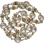 Plastic Caged Crystal Necklace with Faux Pearls