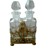 Globe 24KT Gold Plated Ormolu Perfume Holder with Two Bottles