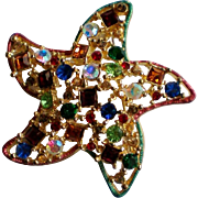 Multi Colored Rhinestone Starfish Pin