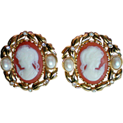 Kenneth Jay Lane KJL for Avon Cameo Earrings