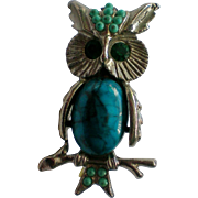 Faux Turquoise Jelly Belly Owl Pin