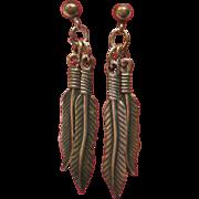 Native American Indian Feather Dangle Pierced Earrings