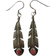 Sterling Silver Native American Feather Coral Earrings marked LC