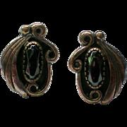 Sterling Silver Black Onyx Native American Earrings marked CH