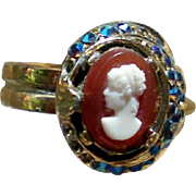 Molded Cameo Ring with AB Stone Accents