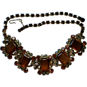 Exquisite Amber Glass with Smoky Quartz Rhinestone Necklace
