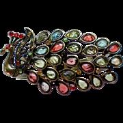 Peacock Rhinestone Clamper Bracelet