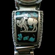 Signed KAM Native American Buffalo Turquoise Watch Band