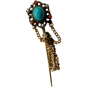 Turquoise Glass Cabochon Stick or Lapel Pin