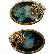 Unique Shoe or Dress Clips with Gold tone Tree Frames