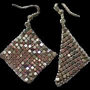 Whiting & Davis Silver tone Mesh Dangle Earrings