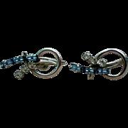 Sterling Silver Signed CARL ART Screw Back Rhinestone Earrings