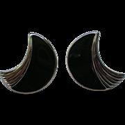 Trifari Modernist Pierced Black Enamel Earrings