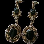Edwardian Inspired Long Dangle Pierced Earrings