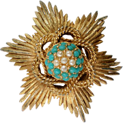 Sphinx of England  Simulated Pearl &Turquoise Brooch