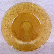SALE Sandwich Glass Cake Plate in Amber
