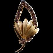 Lavender Rhinestone Leaf Brooch / Pin