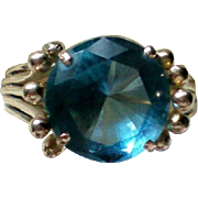 14K Gold Simulated Blue Topaz Ring
