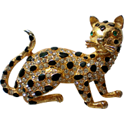 Sparkling Black & Gold Leopard Panther Cat Pin