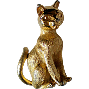 Trifari Feline Cat or Kitten Pin in Gold tone Metal