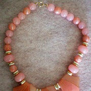 SALE Chunky Lucite Salmon/Pink Beaded Necklace