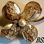 SALE Signed BSK Multi Layered Flower Brooch