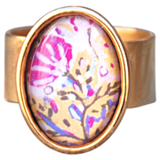 Oxidized 22k Gold Plated Pewter Blossoming Tree Ring