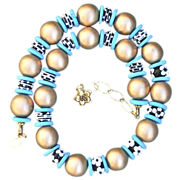 Handmade Lampwork, Wood, and Turquoise Necklace