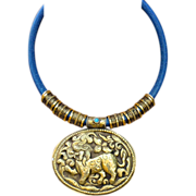 Nepalese Handmade Brass Repousse Dragon Pendant Necklace on Denim Leather