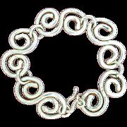 Fine Silver Hand-Forged Hammered Scroll Bracelet