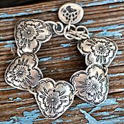 Outstanding Hand Made Fine Silver Heart Concho Bracelet