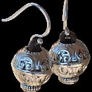 Silver Plated Acrylic Bali-Style  Earrings