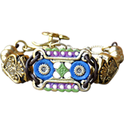 SOLD One of a Kind Patinaed Florentina Medallion Bracelet with Sacred Hearts - Red Tag Sale It