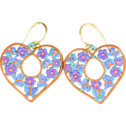SOLD Hand-patinaed heart earrings