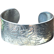Vintage Pewter Cuff Bangle Bracelet with Flower of the Month of January
