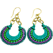 SOLD Gold Tone, Chain Link Hand-Patinaed Hoop Earrings